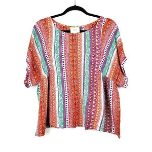 Anthroplogie | MAEve Milla Multicolor Print Top M